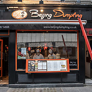 Beijing Dumpling in London Chinatown Sweet Tooth Cafe and Restaurant at Newport Court and Garret Street on 15 June 2019, UK.
