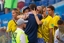 July 7, 2018 - Samara, RUSSIA - 180707 Marcus Berg of Sweden hugs his child and wife Josefine Ringblom Berg after loosing the FIFA World Cup quarter final match between Sweden and England on July 7, 2018 in Samara..Photo: Joel Marklund / BILDBYRÃ…N / kod JM / 87755 (Credit Image: © Joel Marklund/Bildbyran via ZUMA Press)