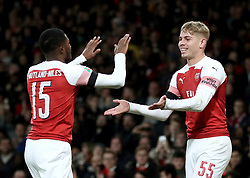 Arsenal's Emile Smith Rowe (right) celebrates scoring his side's second goal of the game with teammate Arsenal's Ainsley Maitland-Niles