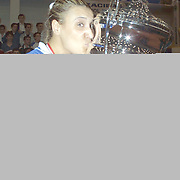 Turkish Woman Volleyball Play Off Final Turkish Woman Volleyball Champion team Eczacibasi. Captain Ozlem OZCELIK with cup during their Eczacibasi Sport Centrum in ISTANBUL at TURKEY.  <br /> 29.04.2002 Photo by AYKUT AKICI/TurkSporFoto