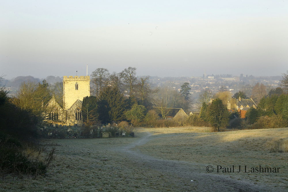 St Botophs Parish Church, Barton Seagrave Northamptonshire, seen from 'The Spinney' on a frost winter morning..looking across the valley is Kettering