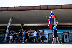 Fan with flag at reception of Primoz Roglic, Olympic gold medalist during his arrival from Tokyo 2020 on July 30, 2021 in Airport Joze Pucnik, Brnik, Ljubljana, Slovenia. Photo by Matic Klansek Velej / Sportida