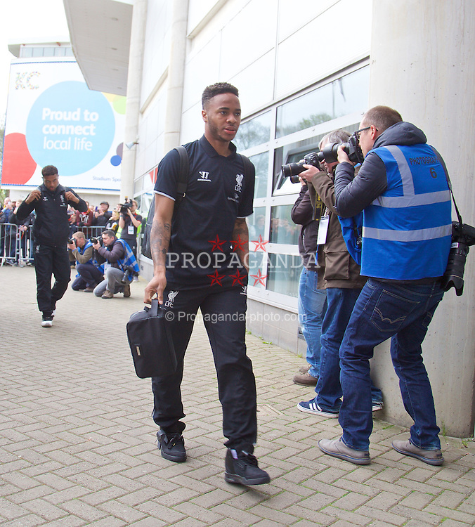 KINGSTON-UPON-HULL, ENGLAND - Tuesday, April 28, 2015: Liverpool's Raheem Sterling arrives at the KC Stadium before the Premier League match against Hull City. (Pic by David Rawcliffe/Propaganda)