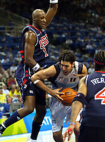 27/08/04 - ATHENS  - GREECE -  - BASKETBALL SEMIFINAL MATCH   - Indoor Olympic Stadium - <br />ARGENTINA win (89) over USA United States of America (81) <br />Argentine celebration after win the match.<br />Argentine player N*11 LUIS SCOLA between USA N*4 IVERSON ALLEN and N*14 ODOM LAMAR.<br />© Gabriel Piko / Argenpress.com / Piko-Press