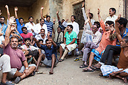 A local meeting of residents and activists at Kathputli Colony that is faced with destruction and closure, New Delhi, India