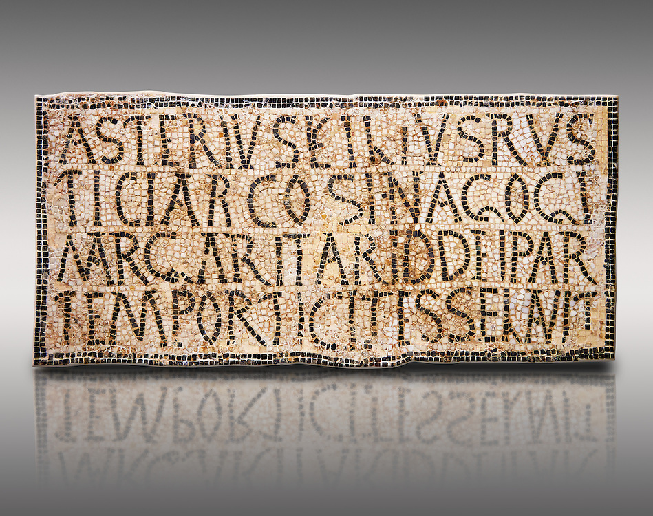 """6th century Inscription of the great hall of the synagogue of Nam-Ham-mam-Lif in the Roman province of Africa Proconsularis, present day Tunisia. The mosaic floor of the vestibule (porticus) was an offering from Asterius son of Rusticus, the Head of the Jewish community who was working in the Naro jewellers trade. The mosaic reads in Latin  """"Asterius, filius Rustici, arcosinagogi, margaritari, (de d(onis) dei partemporticites-selavit"""".  The Bardo National Museum, Tunis Tunisia.   Against a grey background.<br /> <br /> The so called synagogue of Naro (Hammam-Lif, Tunisia), discovered in 1883, is a square buil-ding (20 by 20 m), consisting of several rooms and hallways communicating with an inner courtyard. The plan is inspired by traditional domestic architecture of Roman Africa. The room, dedicated to religious ceremonies, was paved with a magnificent mosaic of several figured panels with an iconography highlighting Judaeo-Christian concepts, attesting a proselyte attitude addressing a local Judaic community, who was very active between the late fifth c. and the early sixth century AD."""