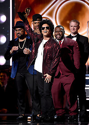 "NEW YORK - JANUARY 28: Bruno Mars accepts the award for ""Album of the Year"" on the 60th Annual Grammy Awards at Madison Square Garden on January 28, 2018 in New York City. (Photo by Frank Micelotta/PictureGroup)"