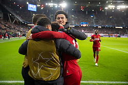 SALZBURG, AUSTRIA - Tuesday, December 10, 2019: Liverpool's Mohamed Salah celebrates scoring the second goal with team-mates during the final UEFA Champions League Group E match between FC Salzburg and Liverpool FC at the Red Bull Arena. (Pic by David Rawcliffe/Propaganda)