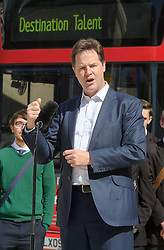 © Licensed to London News Pictures. 05/06/2013 London, UK. Deputy Prime Minister Nick Clegg and Dragons Den entrepreneur James Cann launch a new campaign  calling on companies to sign up and open their doors to young people. Caan, 52, has faced criticism after admitting employing his two daughters just hours after telling parents not to do the same in his role as the Government's social mobility Tsar. <br />  Photo credit : Simon Jacobs/LNP