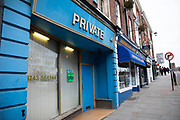 Adult entertainment shop called Private with a subtle frontage in Shrewsbury, United Kingdom.