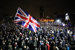 © Licensed to London News Pictures. 31/01/2020. London, UK. People gather in Parliament Square to celebrate the United Kingdom's departure from the European Union. Photo credit: Peter Macdiarmid/LNP