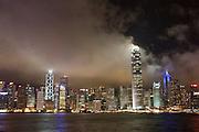 Asia, Southeast, People's Republic of China, Hong Kong, Night view of the  Hong Kong skyline as seen from Kowloon peninsula (Tsim Sha Tsui).