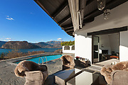garden furniture of  house with beautiful lake view