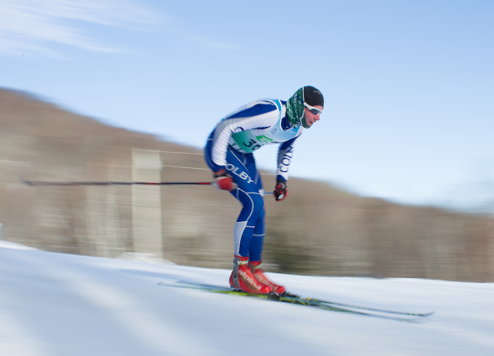 Jeff Tucker skis during the Bates College Winter Carnival Men's 10k Freestyle at Black Mountain on January 17, 2015 in Rumford, ME. (Dustin Satloff/Colby College Athletics)
