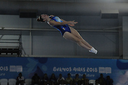 October 9, 2018 - Buenos Aires, Buenos Aires, Argentina - MARINA CHAVARRIA of Spain competes during the Women's Trampoline Qualification on Day 2 of the Buenos Aires 2018 Youth Olympic Games at the Olympic Park. (Credit Image: © Patricio Murphy/ZUMA Wire)