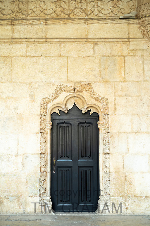 Doorway in famous Monastery of Jeronimos - Mosteiro  dos Jeronimos in Lisbon, Portugal