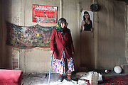 Stanka Ivanova Giarjiva in her home at 'Baraki' Mahala, Veliko Turnovo barracks. Bulgaria..Roma Gypsies left India 1000 years ago. Often nomadic. A collection of tribes with their own languages and culture, pushed by the Ottoman empire towards Europe, used and sold as mercenaries, slaves, prostitutes. They endured 500 years of slavery until mid 19th century. A million were killed in the holocaust. Hundreds of thousands exiled and refugees from kosovo. Many Eastern Europe Roma come to the west seeking a better life. They are shunned, marginalized, excluded. Both indigenous and foriegn Roma, whether European citizens or not, lack the opportunities of others, living on the periphery, in the brunt of racism, often deported back to their countries of origin.