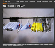 Empty hangers hang at a dry cleaners, as businesses struggle with continued work from home protocols to limit the spread of the coronavirus in Philadelphia, Pennsylvania.