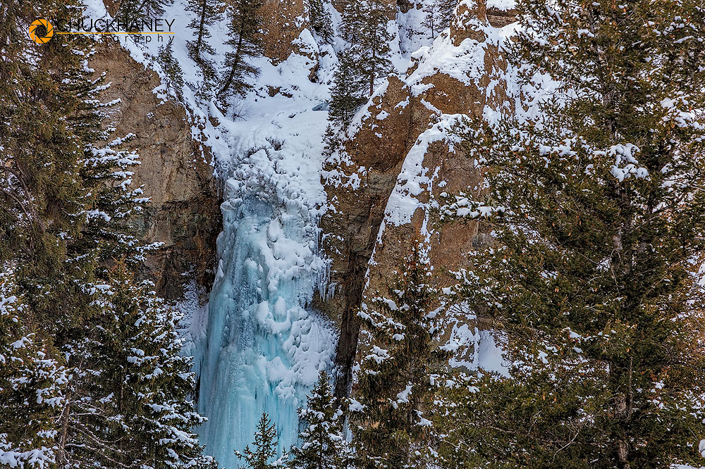 Tower Falls in winter in Yellowstone National Park, Wyoming, USA