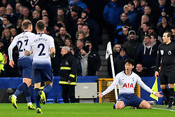 December 23, 2018 - Liverpool, Liverpool, United Kingdom - Tottenham Hotspur's Son Heung-min celebrates scoring his side's first goal of the game during the Premier League match at Goodison Park, Liverpool, UK.  Everton v Tottenham Hotspur - Premier League - Goodison Park. Goodison Park. (Credit Image: © Anthony Devlin/i-Images via ZUMA Press)