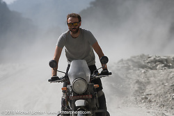 Sean Lichter on a particularly dusty part of the route on Day-7 of our Himalayan Heroes adventure riding from Tatopani to Pokhara, Nepal. Monday, November 12, 2018. Photography ©2018 Michael Lichter.