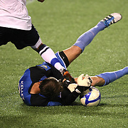 Orlando City Lions Goalkeeper Sean Kelley (21) makes a save during a United Soccer League Pro soccer match between the Harrisburg City Islanders and the Orlando City Lions at the Florida Citrus Bowl on August 12, 2011 in Orlando, Florida. The Orlando City won the match 4-0. (AP Photo/Alex Menendez)