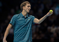 Tennis - 2019 Nitto ATP Finals at The O2 - Day Two<br /> <br /> Singles Group Andre Agassi: Daniil Medvedev vs. Stefanos Tsitsipas<br /> <br /> Daniil Medvedev (Russia) offer the ball up for service <br /> <br /> COLORSPORT/DANIEL BEARHAM<br /> <br /> COLORSPORT/DANIEL BEARHAM