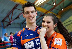 Alen Sket of ACH celebrates with his girlfriend Tia after winning the volleyball match between Calcit Volleyball and ACH Volley in 4th Final Round of Radenska Classic League 2012/13 on April 16, 2013 in Arena Kamnik, Slovenia. ACH Volley defeated Calcit Kamnik in games 3-1 and became Slovenian National Champion 2013.(Photo By Vid Ponikvar / Sportida)