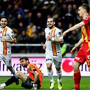 Galatasaray's Wesley Sneijder (C) celebrate his goal during their Turkish superleague soccer match Kayserispor between Galatasaray at Kadir Has Stadium in Kayseri Turkey on Sunday, 17 March 2013. Photo by TURKPIX