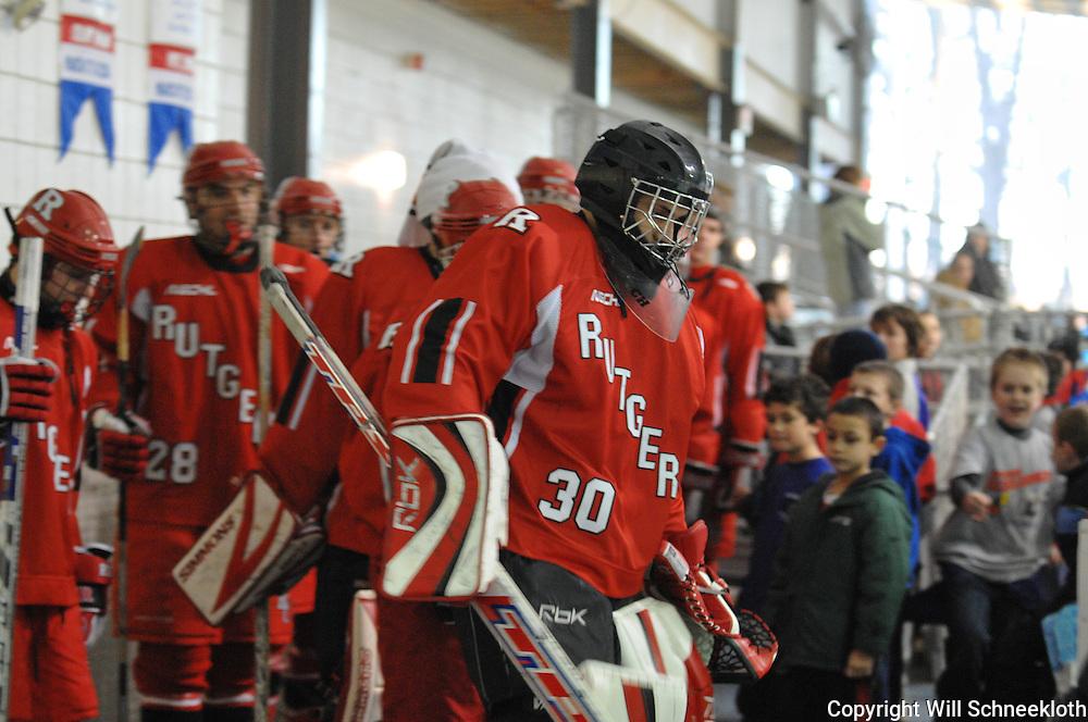 Dec 13, 2008 - Rutgers Scarlet Knights hockey defeat the Binghamton University Bearcats 12-0 at the Old Bridge arena in Old Bridge, N.J.