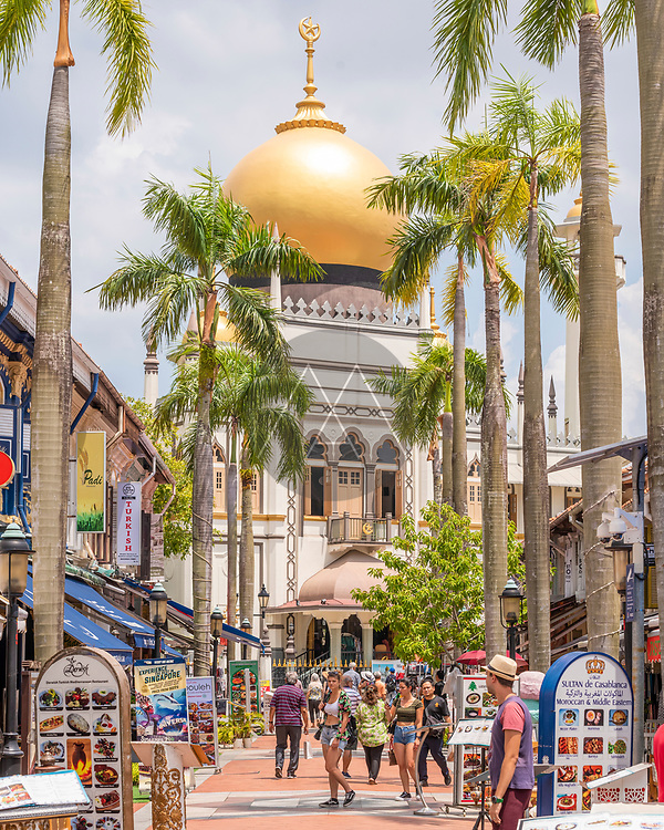 Singapore - 26 March 2019: View of the Arab quarter district in Singapore downtown.