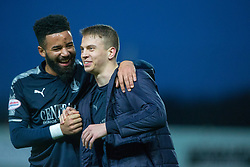 Falkirk's Alex Jakubiak and Falkirk's Andrew Nelson at the end. Falkirk 3 v 1 Inverness Caledonian Thistle, Scottish Championship game played 27/1/2018 at The Falkirk Stadium.