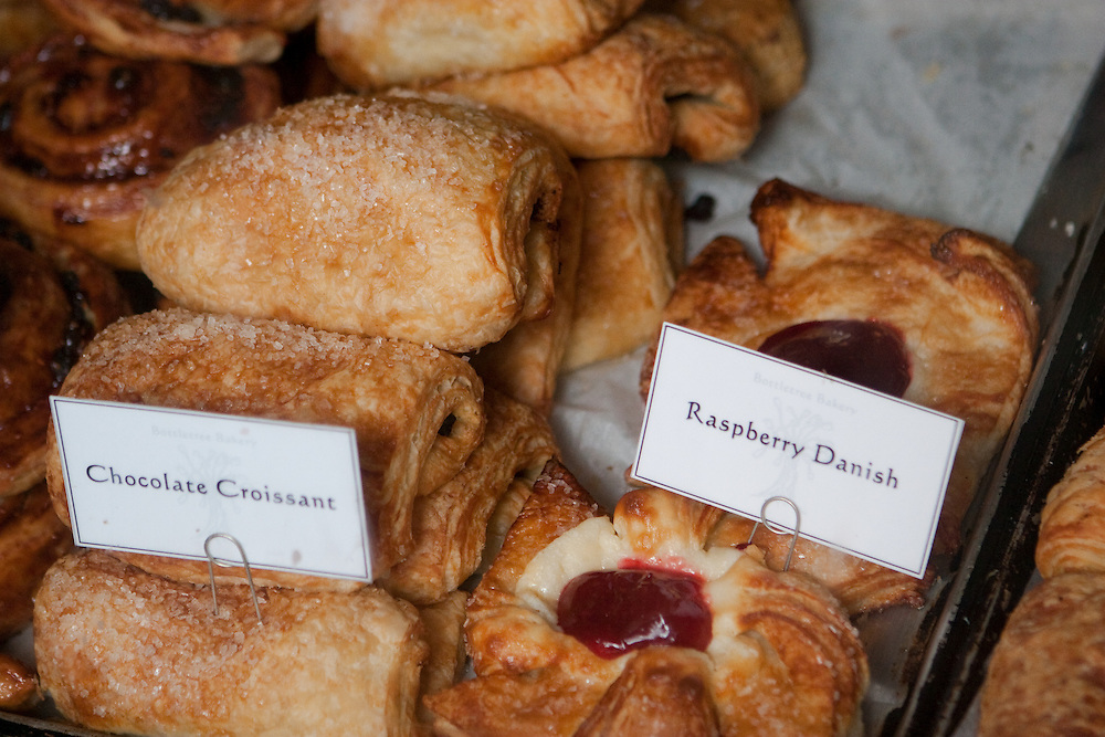 Chocolate croissants and raspberry danishes at Bottletree Bakery near Old Miss, in Oxford Mississippi.