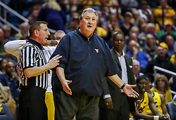 Mar 20, 2019; Morgantown, WV, USA; West Virginia Mountaineers head coach Bob Huggins reacts to a call during the second half against the Grand Canyon Antelopes at WVU Coliseum. Mandatory Credit: Ben Queen