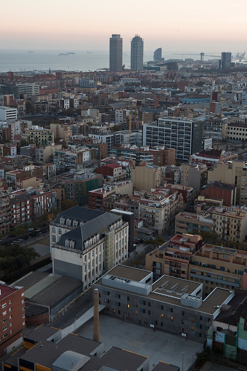 The Poblenou neighbourhood, seen from the top fllor of the Me Hotel, in Barcelona, Catalonia, Spain,