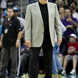 April 6, 2011; New Orleans, LA, USA; Houston Rockets head coach Rick Adelman against the New Orleans Hornets during the first half at the New Orleans Arena.   Mandatory Credit: Derick E. Hingle-US PRESSWIRE
