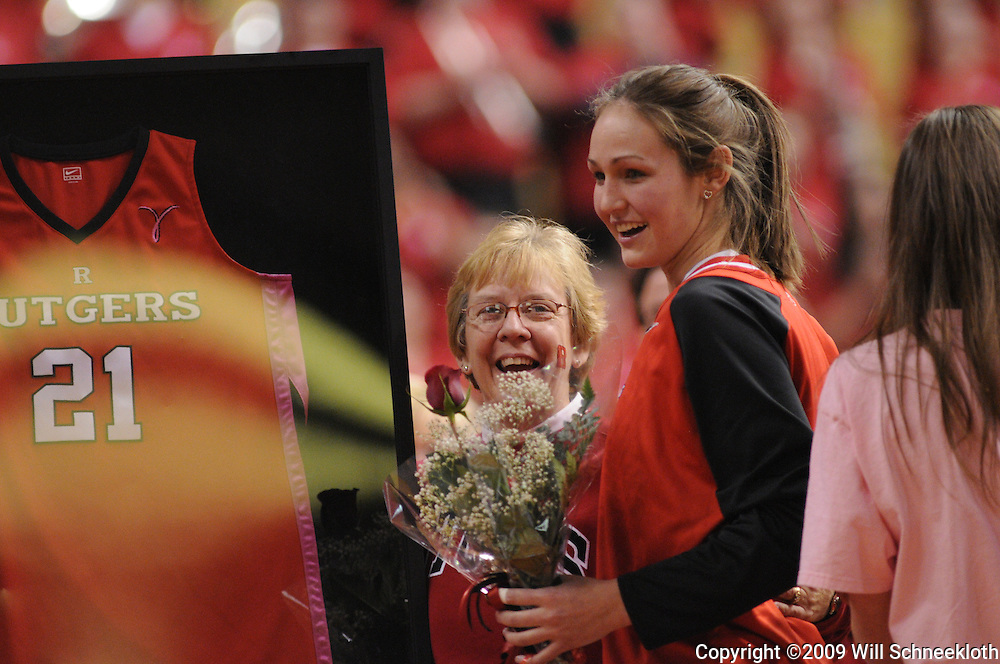 Mar 2, 2009; Piscataway, NJ, USA; Rutgers senior forward Heather Zurich during the senior night ceremony honoring the women's basketball team's graduating seniors prior to their matchup with #1 Connecticut.