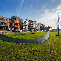 Nederland, Amsterdam, 21 februari 2017.<br />Nieuwbouw in Amsterdam Nord.<br />Amsterdam Noord is razend popolair aan het worden binnen Amsterdam Noord voor mensen op zoek naar een woning zoals hier op de foto in de Monikskapstraat onderdeel van een zelfbouwkavel nieuwbouwproject.<br /><br /><br /><br />Foto: Jean-Pierre Jans