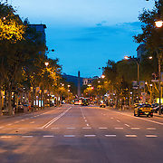 Passeig de Gracia street at night, Barcelona, Spain