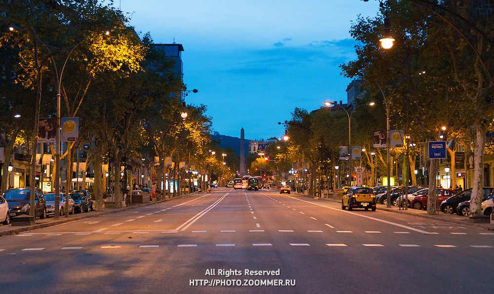 Passeig de Gracia street at night, Barcelona, Spain