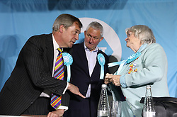 Brexit Party leader Nigel Farage and Ann Widdecombe (right) speak following a rally at Featherstone Working Man's Club, while on the European Election in Pontefract, West Yorkshire. Picture dated: Monday May 13, 2019. Photo credit should read: Isabel Infantes / EMPICS Entertainment.