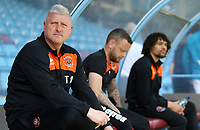 Blackpool's Manager Terry McPhillips is deep thought before kick off<br /> <br /> Photographer David Shipman/CameraSport<br /> <br /> The EFL Sky Bet League One - Scunthorpe United v Blackpool - Friday 19th April 2019 - Glanford Park - Scunthorpe<br /> <br /> World Copyright © 2019 CameraSport. All rights reserved. 43 Linden Ave. Countesthorpe. Leicester. England. LE8 5PG - Tel: +44 (0) 116 277 4147 - admin@camerasport.com - www.camerasport.com