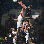 Levan Datunashvili, Georgia, (left) and Nathan Hines, Scotland, challenge for the ball at a line out during the Scotland V Georgia Pool B match  during the IRB Rugby World Cup tournament.  Invercargill, New Zealand, 14th September 2011. Photo Tim Clayton...