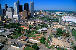Aerial view of downtown Houston, Texas skyline from the east featuring George R. Brown Convention Center and Minute Maid Park.