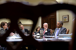 President Barack Obama convenes a meeting with Vice President Joe Biden on college ratings in the Roosevelt Room of the White House, April 1, 2015. Seated with them from left are Cecilia Muñoz, Domestic Policy Council Director; James Kvaal, Domestic Policy Council Deputy Director; Education Undersecretary Ted Mitchell and Treasury Deputy Secretary Sarah Bloom Raskin. (Official White House Photo by Pete Souza)<br /> <br /> This official White House photograph is being made available only for publication by news organizations and/or for personal use printing by the subject(s) of the photograph. The photograph may not be manipulated in any way and may not be used in commercial or political materials, advertisements, emails, products, promotions that in any way suggests approval or endorsement of the President, the First Family, or the White House.