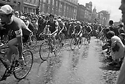 View of the formal start of the 1964 Rás Tailteann at O'Connell Street. 65 riders started on the 8 day round Ireland cycle race.<br /> 05.07.1964