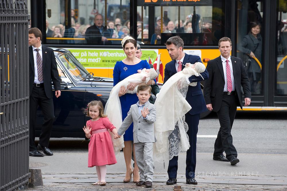 14.04.11. Copenhagen, Denmark.Princess Mary, Prince Frederik, Prins Christians, Princess Isabella, Prince Vincent and Princes Josefine arrive to the Holmens Church to christening ceremony.Photo: Ricardo Ramirez