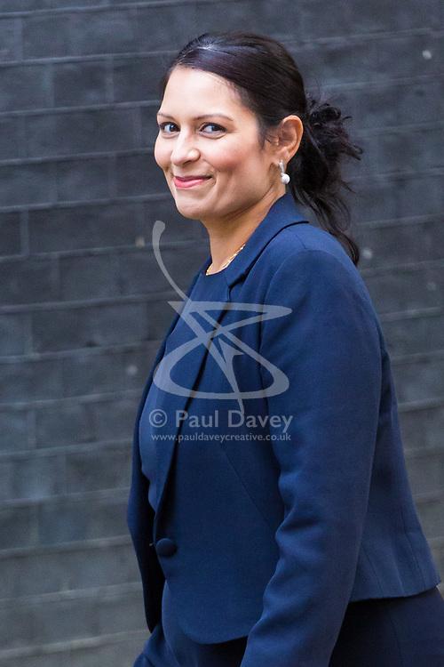 London, October 17 2017. International Development Secretary Priti Patel attends the UK cabinet meeting at Downing Street. © Paul Davey