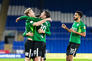 CELE Birmingham City's Marc Roberts (4) celebrates scoring his sides second goal with his team mates during the EFL Sky Bet Championship match between Cardiff City and Birmingham City at the Cardiff City Stadium, Cardiff, Wales on 16 December 2020.
