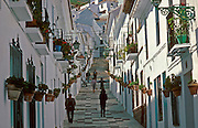 SPAIN, ANDALUSIA MIJAS; a beautiful 'pueblo blanco' or white village and tourism destination above Torremolinos on the Costa del Sol